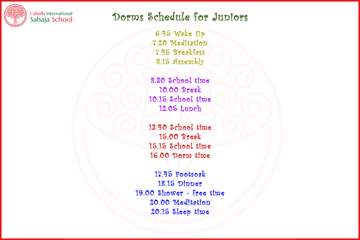 CISS Dorm Schedule 2017-18 Junior