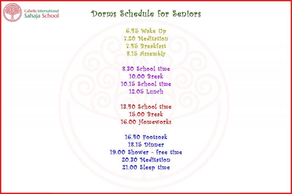 CISS Dorm Schedule 2017-18 Senior