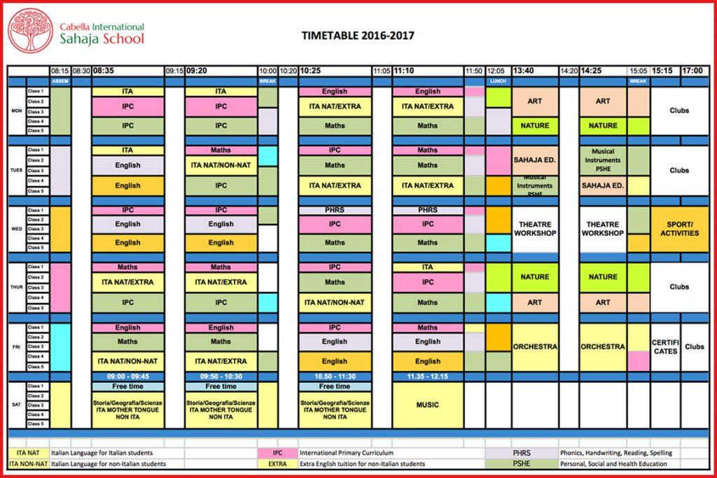 School Timetable 2016/17