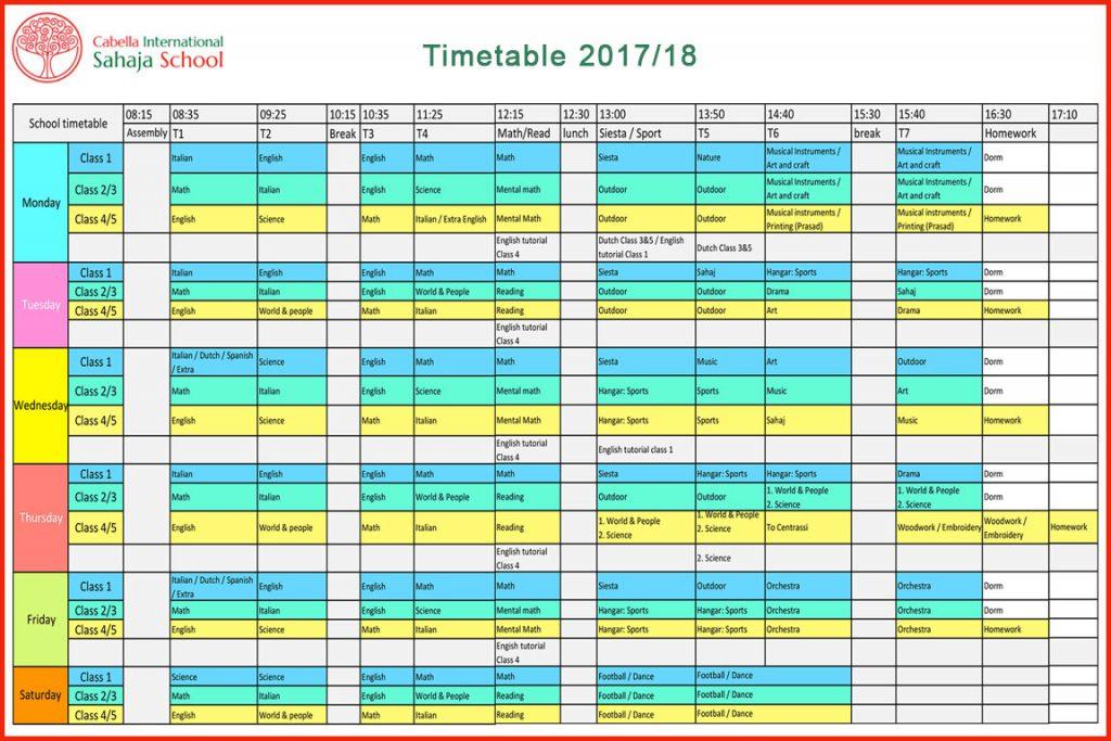 School Timetable 2017/18